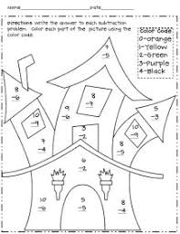 Small Picture Halloween Math Centers first grade includes free printable