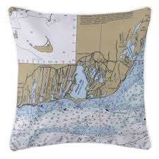 Ma East Falmouth Ma Nautical Chart Pillow Nautical Chart