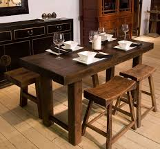 Indoor Picnic Style Dining Table Rectangle Dining Table With Bench Rustic Dining Table With Bench