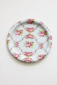 Pink Flower Paper Plates 30 Floral Tea Party Paper Plates Parisian Vintage Style Shabby Chic