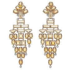 stunning citrine diamond white and yellow gold chandelier earrings with regard to gold chandelier earrings