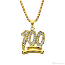 whole emoji 100 logo hip hop crystal pendants necklaces men women jewelry gifts gold bling rhinestone crystal chokers chains pendants for necklace