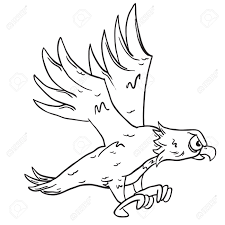 Simple black and white eagle cartoon royalty free cliparts vectors