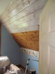 White Washed Wood Ceiling Updating Plank Ceilings Henbogle