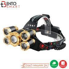 Đèn Pin Đội Đầu 5 Bóng Siêu Sáng 30W - KÈM PIN SẠC - Chế Độ Zoom - Chống  Nước IP66 - Đèn pin Nhãn hàng No brand