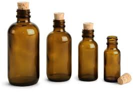 amber glass bottles boston round bottles w cork stoppers