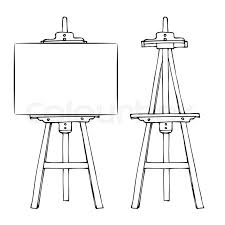 wooden painting easel with blank canvas cartoon black and white hand drawn sketch style isolated on white background vector ilration