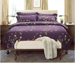 luxury deep dark purple fl bedding set egyptian cotton sheets