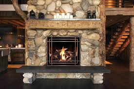 rustic fireplace design a with antique copper front and spruce fire base adds elegance real log