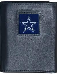 dallas cowboys executive black leather trifold wallet
