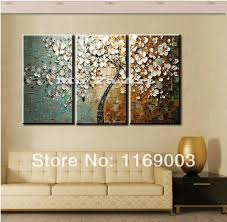3 panel wall art canvas tree acrylic decorative pictures hand painted decoraion painting oil paintings modern flower on canvas with 173 12 piece on