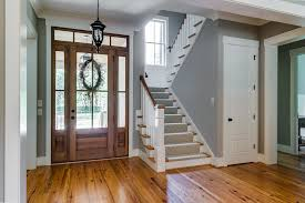 Farmhouse stair railing Cable Railing Chic Breakfast Nook Bench In Staircase Farmhouse With Building Banquettes Next To Stair Carpet Alongside Wood Stairs With Runner And Wood Stair Railing Madebymoodcom Chic Breakfast Nook Bench In Staircase Farmhouse With Building