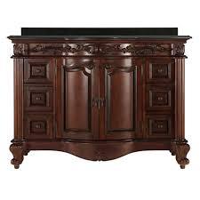 estates 49 in vanity in rich mahogany with granite vanity top in black