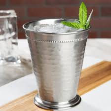 stainless steel mint julep cup with hammered finish and beaded detailing 4 pack