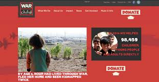 design round up 11 best non profit website designs the idea of children living in the midst of a war is unfathomable for many people war child s web designer does a stellar job of educating ors about