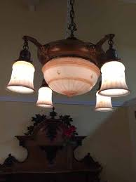 sold antique glass chandelier with original shades 795 00