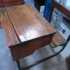 office furniture desk vintage chocolate varnished. Old School Desk With Bench - Antique Office Furniture Vintage Chocolate Varnished E