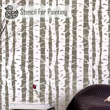 Wall Tree Stencil Designs Birch Tree Wall Stencil