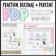 Fdp Chart Math Fdp Fractions Decimals Percents Poster Teks 6 4g
