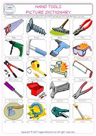 hand tools picture dictionary word to learn esl worksheets for kids and new learners