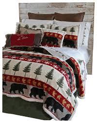 tall pine 5 piece plush cabin bedding
