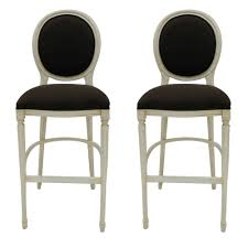 bar chairs with backs. Classic White Upholstered Bar Stool Design With Round Back Black Velvet Bolsters And Footrest Chairs Backs H