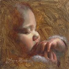 sleeping baby painting now i lay me down to sleep by anna rose bain
