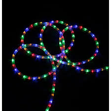 christmas rope lighting. 18\u0027 Multi-Color LED Indoor/Outdoor Christmas Rope Lights Lighting T