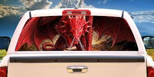 ANGRY DRAGON Rear Window Graphic truck view thru vinyl decal back ...