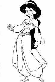 Princess Jasmine Coloring Pages For Kids With Cartoon Printable