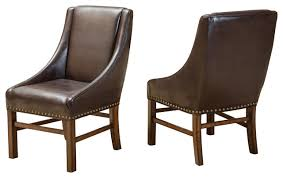 brown dining chairs. Claudia Fabric Dining Chairs, Brown Leather, Set Of 2 Chairs A