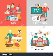 pension hobbies interests leisure pensioner nursing stock vector pension hobbies and interests leisure of pensioner and nursing home 2x2 images set flat vector illustration
