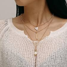whole multilayer necklace gold plated vintage pearl feather triangle horn pendant necklace women collar choker necklace statement african jewelry