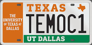 ut dallas license plates are available through the texas department of motor vehicles specialty plates with random letters and numbers are 30
