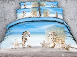 blue beach fossil seahorse 3d printed bedding sets twin full queen king size duvet covers pillow shams comforter animal starfish blue bed duvet covers queen