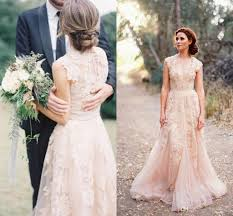 Discount Deep V Cap Sleeves Pink Lace Applique Tulle Sheer Wedding
