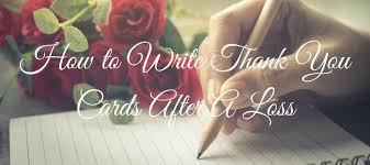 Writing thank you notes for funeral flowers