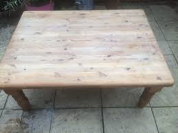 large solid chunky pine coffee table