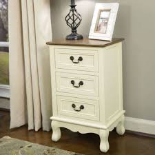 Rustic Antique White Honey Accent Side Table 3 Drawer <b>Storage</b> ...