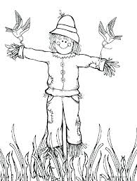 scarecrow coloring pages picture printable free thanksgiving scare crow coloring