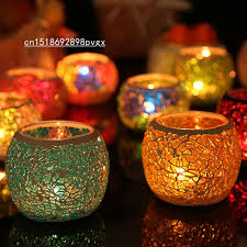 Handmade Mosaic glass candle holder tea light candle stand, event/ wedding/  home decoration