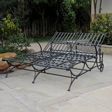 black wrought iron outdoor furniture. international caravan antique black wrought iron patio chaise lounge chair outdoor furniture