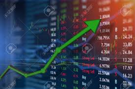 Investing And Stock Market Concept Gain And Profits With Faded