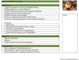 Household Maintenance List Household Checklist For November Running A Household