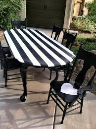 Black And White Kitchen Table Amazing Black And White Striped Dining Table Completed By