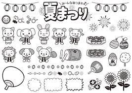 夏祭りセット 白黒 イラスト素材 5641106 フォトライブラリー