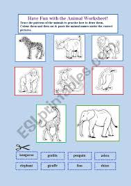 Animal Patterns To Trace Animal Fun Worksheet Esl Worksheet By Heinchina