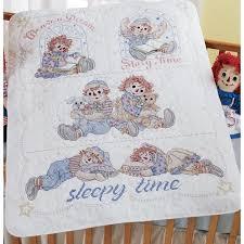 Raggedy Ann & Andy Baby Sleepy Time Crib Cover / Baby Quilt Cross ... & Raggedy Ann & Andy Baby Sleepy Time Crib Cover / Baby Quilt Cross Stitch Kit Adamdwight.com