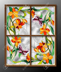 Stained Glass Pattern Unique Stained Glass Pattern With Red Flowers And Butterflies Stock Photo