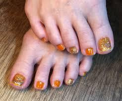 オレンジ金ラメネイル ビタミンカラー セルフネイル フットネイル